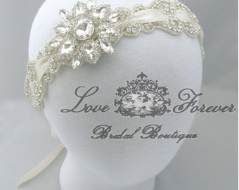 Crystal Rhinestone Wedding Headband, Bridal Jeweled Head Piece, 35 Satin Ribbon Colors / Ivory / White / Champagne / Pink / Blue / Purple