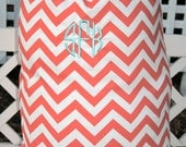 Coral Chevron Laundry Bag- Custom Made to Order