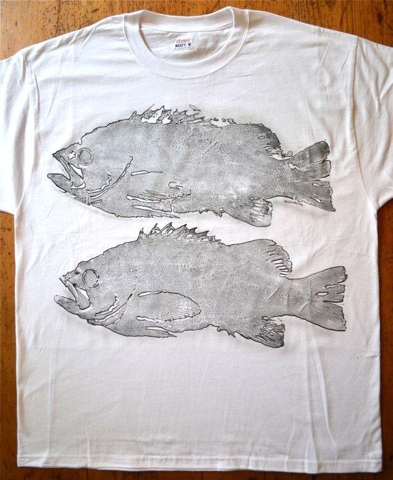 Two fish xl airbrush fish print t shirt by bnow on etsy for Fish print shirt