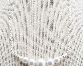 50% OFF Necklace, Silver and ivory pearl graduated necklace: No. N60 1