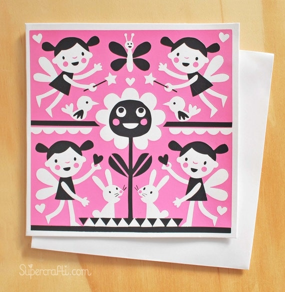 Fairy pink hand printed screen card
