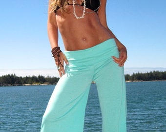 SEAFOAM GREEN  Palazzo wide leg  gaucho resort yoga lounge beach capri  pant (calf length) pants with stretch waist