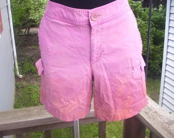 Distressed Pink Studded Shorts Dockers 2 Tone Dip Dyed Long Shorts - Size 8
