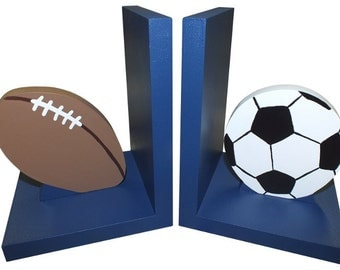 Sporty Bookends - Wooden Football and Soccer Bookends