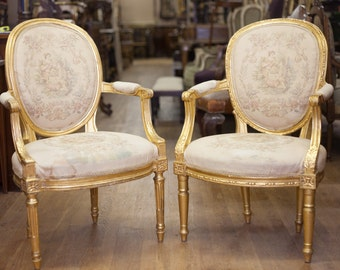 Beautiful Pair of French Gilt Arm Chairs