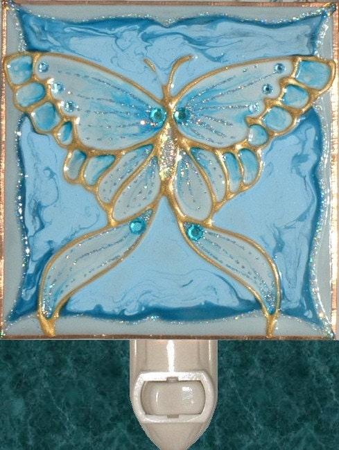 Decorative Wall Plug In Nightlights : Blue Butterfly Night Light Unique Decorative Night Lights Plug