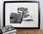 PINE TREE & ROOF - Linocut Print - Japanese Pine Tree Linocut 9x13 - Ready to Ship