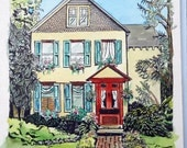 Custom House Portrait, Watercolor & Ink painting with lots of Personality, Home Portrait Art