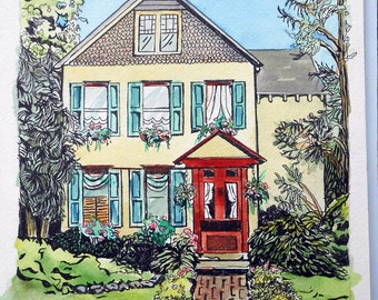"Watercolor and Ink Custom House Portrait Painting, 16""  x 20"", cheerful and bright, whimsical style house illustration"