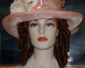 "Edwardian Hat Downton Abbey Hat Gatsby Hat Church Hat Easter Hat ""Miss Betty"" Peach Pink Hat"