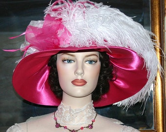 Ascot Hat Kentucky Derby Hat Wide Brim Tea Hat Titanic Hat Somewhere in Time Hat Downton Abbey Hat Edwardian Pink Hat - Mademoiselle Monet
