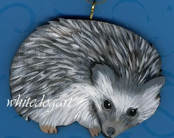 Handpainted Hedgehog Christmas Ornament