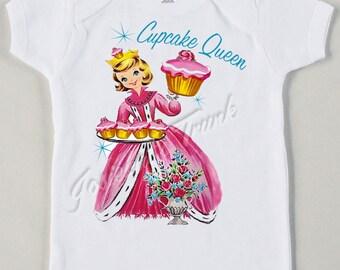 "Retro ""Cupcake Queen"" Tee Custom Size Vintage Girl Tshirt Pink Frosting"