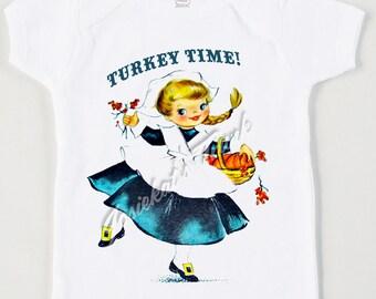Thanksgiving Shirt Girl - Pilgrim Girl Shirt - Thanksgiving Infant Tee - Tween Thanksgiving - Retro Girl Vintage Tshirt Blonde or Brunette