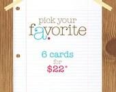 pick your favorite 6 letterpress cards