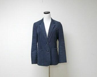 P SHAW . 1970 vintage blue corduroy jacket . size 10