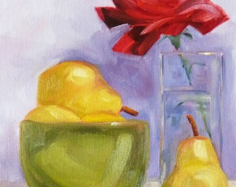 Still Life Oil Painting, Original Canvas, Green Bowl, Red Rose, Yellow Pears, 9x12, Kitchen Art,  Wall Decor, Purple, Small Fruit, Flower