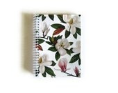 Cute Magnolia Flowers A6 Spiral Pocket Notebook, Blank Writing Spiral Bound Journal, Back to School Sketchbook, Gardener Gift Under 15, SALE