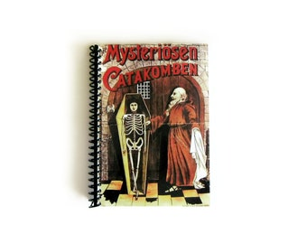 The Mysterious Catacomb Spiral Bound Writing Journal, Vintage Circus, A6 Notebook Blank Sketchbook Pocket Zombies Cute, Gifts Under 15