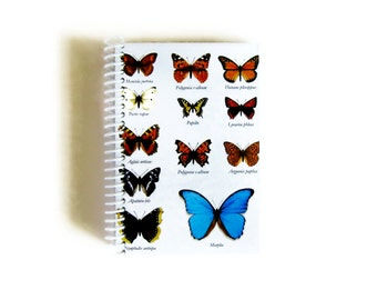 Butterflies A6 Spiral Paper Notebook, Spiral Bound Writing Journal Natural History Back to School Blank Pocket Notebook, Gifts Under 15