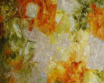 Oil painting, abstract, autumn colours, orange, amber, yellow, green, pale grey, 16 x 12 inches