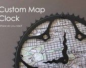 custom map bicycle clock - large size / topographic map bike clock