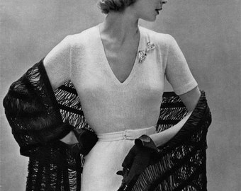 One Piece Dress and Lacy Stole - Two Vintage Knitting Patterns - c. 1950 - PDF eBook