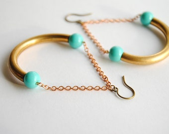SALE - Aqua Curve Earrings with Vintage Brass - FREE US Shipping
