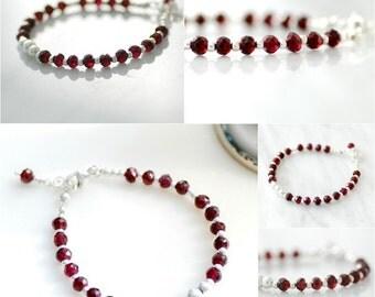 Garnet Bracelet, Gemstone Bracelet, January Birthstone, Birthstone Jewelry, Statement Bracelet, Sterling Silver - Aquarius