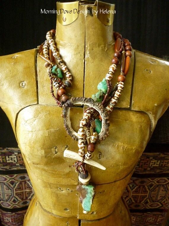 Organic design, desert colors, antler and stone lariat
