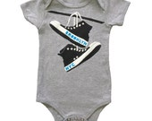 Brooklyn Converse - Baby One Piece Bodysuit New York Retro Cute Shoes BKLYN NYC Hipster Romper Jumper Grey Onesie