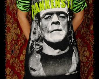 Frankenstein shirt horror dress Classic Horror movie top alternative gothic clothing reconstructed altered tee t-shirt