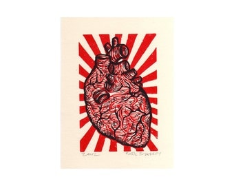 Art, Heart Wall Art Print, Anatomical Heart Linocut Art Print, wall decor
