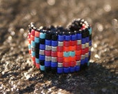 Adjustable Turquoise Orange Purple Navajo beaded band Ring ... your size or adjustable