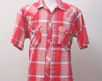 Men's Western Shirt / Vintage Short Sleeve Plaid Shirt / Size Large-XL
