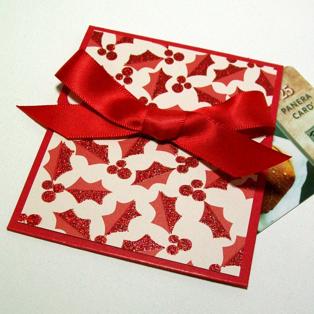 Handmade Christmas Gift Card Holder Red And Cream Glitter