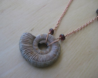 Insouciant Studios Red Tide Necklace Fossil Ammonite Druzy