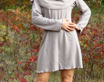 Hemp and Organic Cotton Oversized Cowl Tunic With Full Length Sleeve