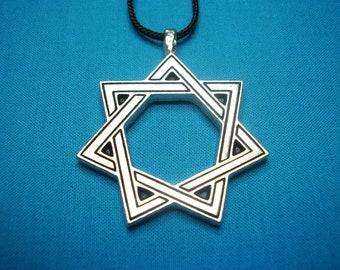 Magical 7 Pointed Star, Heptagram, Septagram, Large Silver Pewter Necklace Pendant STK177