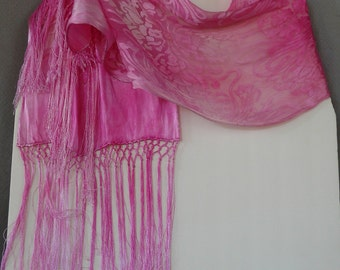 Silk Burnout Scarf, Hand Dyed, Art Noveau, Pink, Spring Beauty