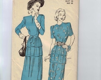 1940s Vintage Sewing Pattern Advance 4669 Misses Two Piece Peplum Dress Size 20 Bust 38 40s B38 1943