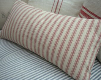 French Cottage Down Pillow/22x12/Linen Ticking Red and CReaM/Paris Shabby Chic Stripe/Decorative Pillow/Throw Pillow/Beach Decor