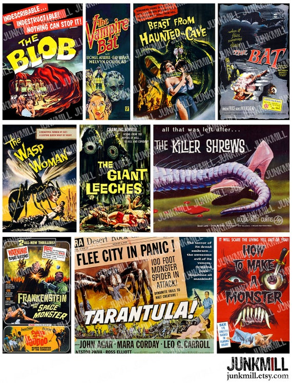 MONSTER MOVIES - Digital Printable Collage Sheet - Vintage Cult Classic Film Posters with The Blob, Frankenstein, Killer Shrews, Halloween