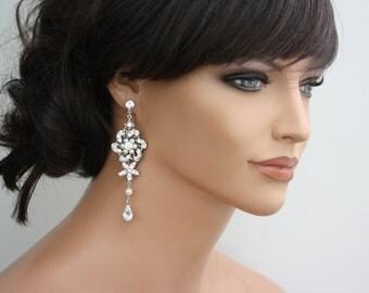 Chandelier Wedding Earrings Flower Bridal Earrings Swarovski Crystal and Pearl Vintage Wedding Jewelry SABINE GRAND