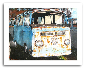 "VW Volkswagen Hippie Bus Art ""VW Down and Out"" Prints Signed and Numbered"