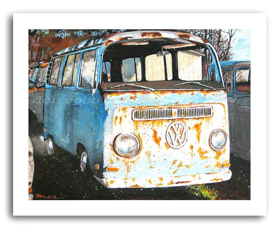 vw volkswagen hippie bus art vw