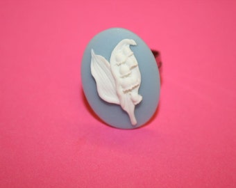 Medium Blue Lily of the Valley Cameo Ring