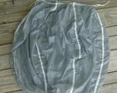 Silver Gray Drawsting Laundry Bag Repurposed Tandem Parachute Drogue