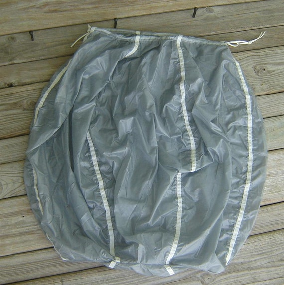 Silver Gray Ripstop Drawstring Laundry Bag Repurposed Tandem Parachute Drogue