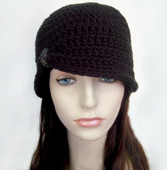 Vintage Inspired Hat Flapper Hat 1920s Style Hat Black Hat Cotton Hat Cloche Hat Glass Beading Spring Hat Cotton Hat- MADE TO ORDER